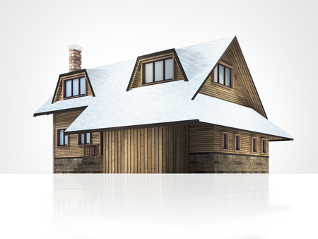 wooden mountain lodge with snowy roof, isolated 3D building illustration on white