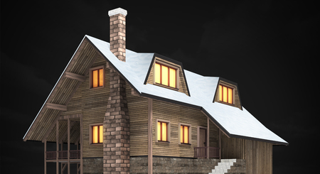 wooden mountain hut at night, isolated 3D building illustration on black
