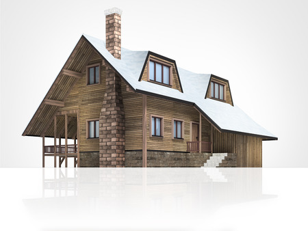 chalet: wooden mountain hut with snowy roof, isolated 3D building illustration on white