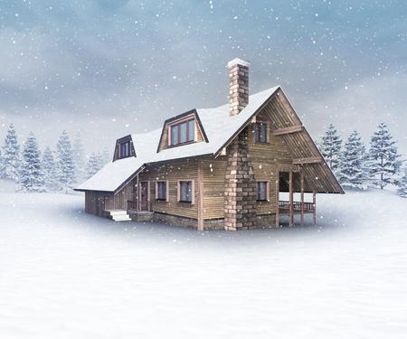 seasonal wooden cabin at winter snowfall, winter season outdoor scenery 3D illustration Stock Photo