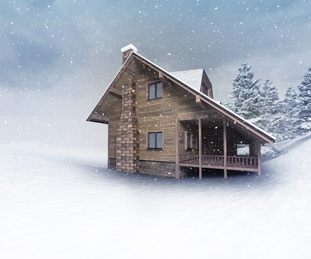 seasonal wooden hut at winter snowfall, winter season outdoor scenery 3D illustration
