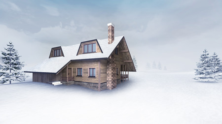 wooden cottage at winter landscape with trees, winter season outdoor scenery 3D illustration