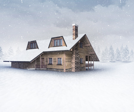 chalet: seasonal wooden chalet at winter snowfall, winter season outdoor scenery 3D illustration Stock Photo