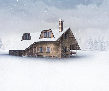 seasonal wooden chalet at winter snowfall, winter season outdoor scenery 3D illustration Stock Photo
