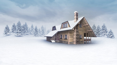 wooden cabin at winter landscape with trees, winter season outdoor scenery 3D illustration