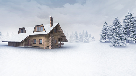 chalet: wooden chalet at winter landscape with trees, winter season outdoor scenery 3D illustration