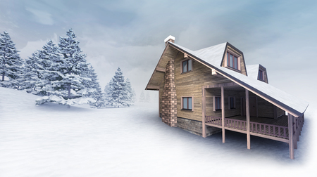 wooden lodge at winter landscape with trees, winter season outdoor scenery 3D illustration