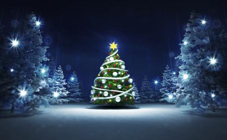 xmas tree in winter glittering magic woods, blue seasonal background 3D illustration