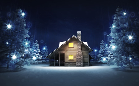 wooden cottage in winter glittering magic woods, blue seasonal background 3D illustration