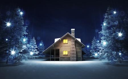 wooden cottage in winter glittering magic woods, blue seasonal background 3D illustration