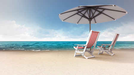 sandy beach with two seats and sunshade, vacation at sea 3D background illustration
