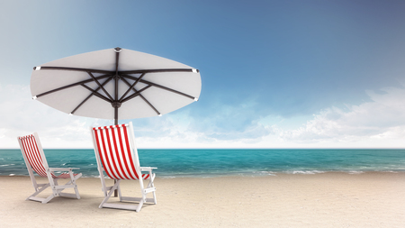 sunshade: sandy beach with two seats and parasol, vacation at sea 3D background illustration