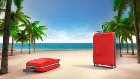 accomodation: two red luggage on the sandy tropical beach, vacation at sea 3D background illustration Stock Photo