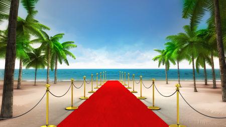 exclusieve rode loper op het tropische zandstrand, vakantie op zee 3D achtergrond illustratie