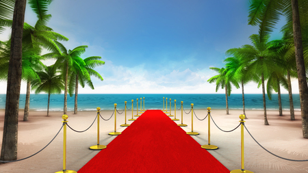 exclusive red carpet on the sandy tropical beach, vacation at sea 3D background illustration