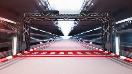 illuminated race track finish line, racing sport background rendering 3D illustration