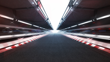 beleuchtete Rennstrecke mit glänzenden Lichtern und Bewegungsunschärfe, Rennsporthintergrund, der 3D-Illustration wiedergibt