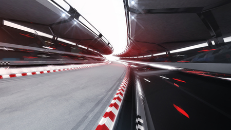 Illuminated race track road with speed motion blur, racing sports background rendering 3D illustration