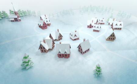 winter season outdoor scenery 3D illustration Stock Photo