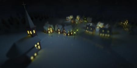 illuminated village at winter calm night with church, winter seasonal 3D illustration background Stockfoto