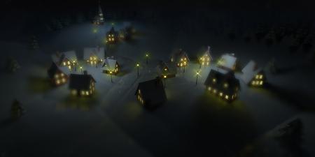illuminated ski resort at winter calm night, winter seasonal 3D illustration background