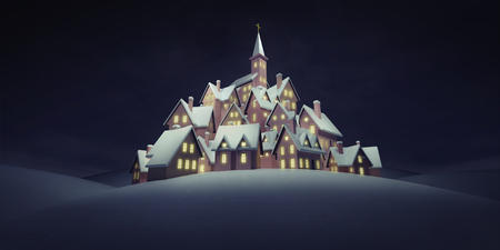 village with church on the top at calm night, winter seasonal 3D rendering illustation background template