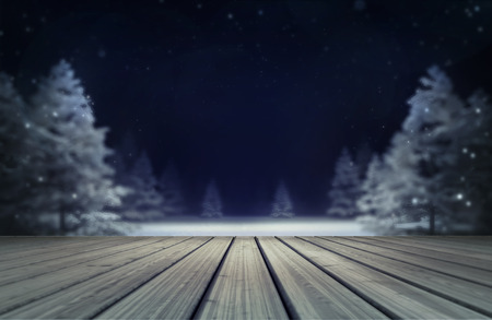 snowy forest with wooden deck at evening, winter nature 3D scene editable background illustration