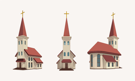 group of three churches with golden cross on the top perspective views, religion architecture vector isolated illustration