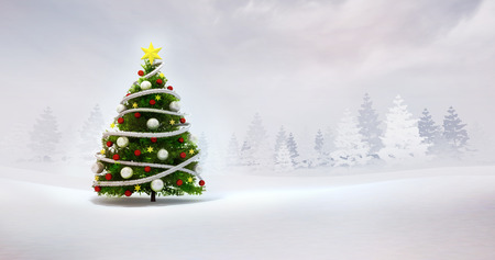 winter seasonal landscape 3d render illustration template