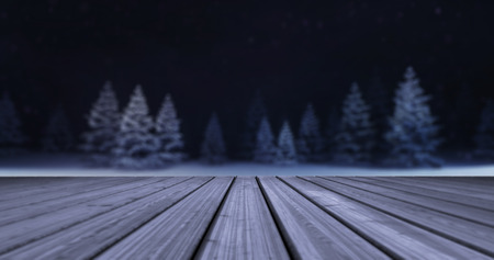 magic winter forest with wooden deck front at evening, winter nature 3D scene copy space background illustration rendering