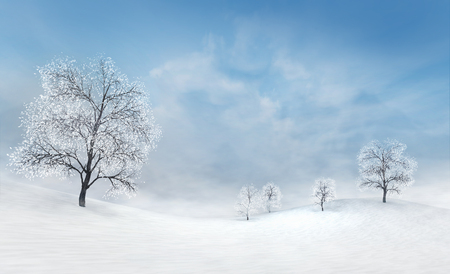 bright winter plains with bare deciduous trees at calm daylight, winter nature 3D scene copy space background illustration rendering