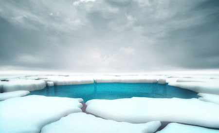 cracked iceberg pieces with water gap middle background template, global warming and environmental conditions 3D illustration render