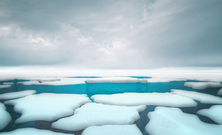 cracked iceberg pieces with dark sky background template, global warming and environmental conditions 3D illustration render Stockfoto