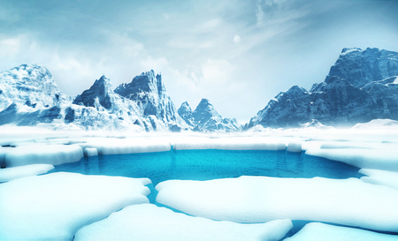 cracked iceberg pieces with big mountains behind background, global warming and environmental conditions 3D illustration render