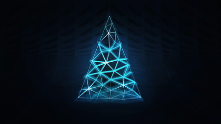 illuminated christmas tree as triangular network system, artificial intelligence and technological progress 3d illustration render background