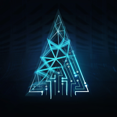christmas tree triangular shape as ai network, artificial intelligence and technological progress 3d illustration render background