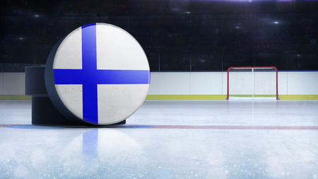 hockey puck with Finland flag side cover on ice rink with spectators background, hockey arena indoor 3D render as national illustration background