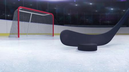 ice hockey stadium and goal gate with hockey stick front and camera flash behind, ice hockey and skating stadium indoor 3D render illustration background Stockfoto