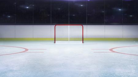 Vista general frontal de la portería del estadio de hockey sobre hielo y flashes de cámara detrás, estadio de hockey y patinaje en el interior 3D Render ilustración de fondo Foto de archivo
