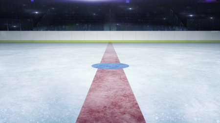 ice hockey stadium middle line general view and camera flashes behind, hockey and skating stadium indoor 3D render illustration background