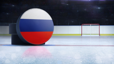 hockey puck with Russia flag side cover on ice rink with spectators background, hockey arena indoor 3D render as national illustration background Stockfoto