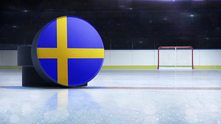 hockey puck with Sweden flag side cover on ice rink with spectators background, hockey arena indoor 3D render as national illustration background Stockfoto