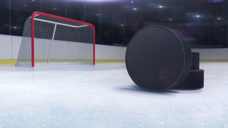 ice hockey stadium and goal gate with puck front and camera flash behind, ice hockey and skating stadium indoor 3D render illustration background