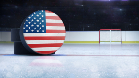 hockey puck with USA flag side cover on ice rink with spectators background, hockey arena indoor 3D render as national illustration background