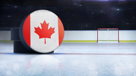 hockey puck with Canada flag side cover on ice rink with spectators background, hockey arena indoor 3D render as national illustration background
