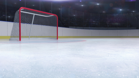 ice hockey stadium with goal red gate and blank copy space front, ice hockey and skating stadium indoor 3D render illustration background Stockfoto