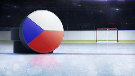 hockey puck with Czech Republic flag side cover on ice rink with spectators background, hockey arena indoor 3D render as national illustration background