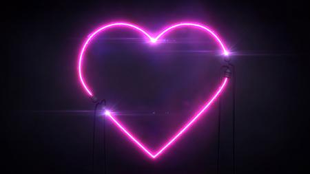 neon violet light heart shape on dark background, love and romance 3d illustration sign on black