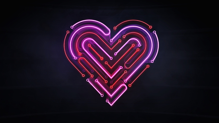 illuminated neon heart shape as integrated circuit background, artificial love and intelligence 3d illustration on dark background Stockfoto