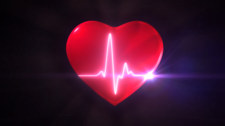 red heart with pulse line and light beam on black, medical care and health 3d illustration background